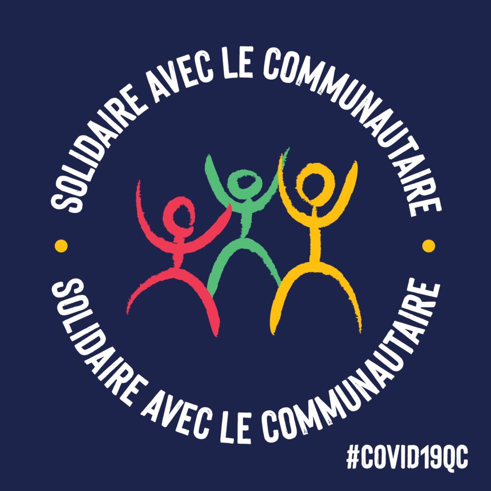 Logo campagne Engagez-vous pour le communautaire - vignette bleue COVID-19